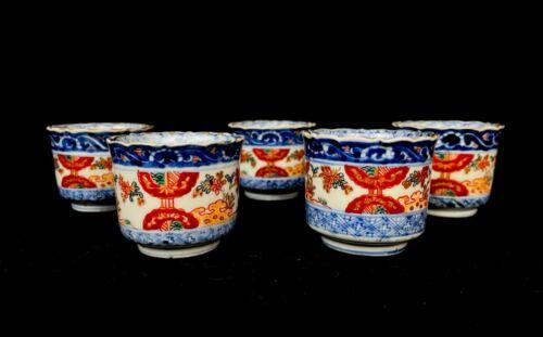 Japanese Antique Signed  Sakazuki Sake Cup Porcelain 5sets(b736) ハ