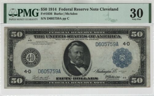 1914 $50 Federal Reserve Note Currency Cleveland FR.1036 PMG Very Fine 30