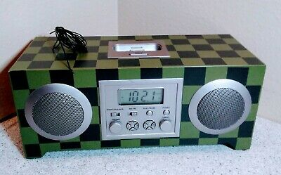 Pottery Barn Teen Rockin' Alarm Clock Green and Black Checker Board iPod Radio