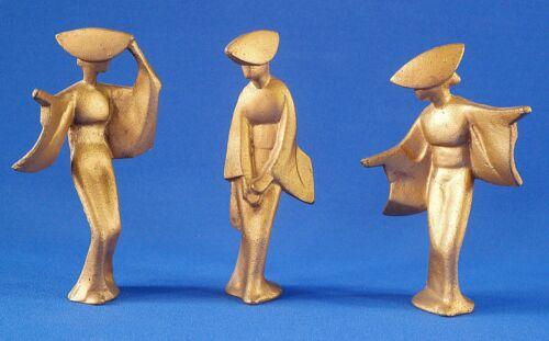 MCM Japanese Cast Iron Geisha Girls Art Deco Figurine Set of 3
