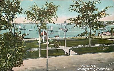 Portland Maine~Sailboats, Gazebo, Benches in Fort Allen Park~c1910 Postcard pc