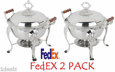 2 Pack 5qt Stainless Round Chafer Chafing Dish Catering Buffet Thanksgiving
