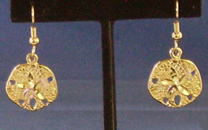 Gold Sand Dollar Earrings 24k Plated French Hoops Drop Rox 3 4