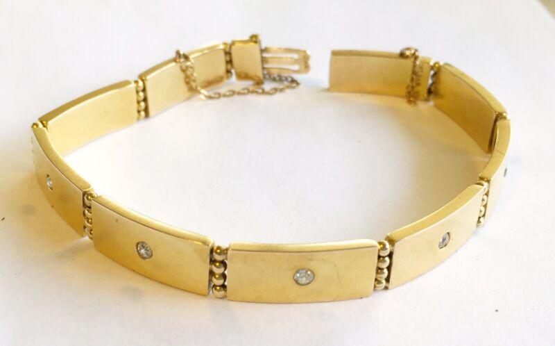Antique Art Nouveau 14k Yellow Gold Link Bracelet With 5 Diamonds