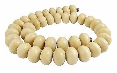 Ambaba-Weißholz Perlen große Rondelle ca. 15x10 mm Holzperlen Strang H.AM-17
