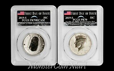 2-Piece Set - 2019-S Apollo 11 Half Dollars PCGS 70 FIRST DAY - IN STOCK!!