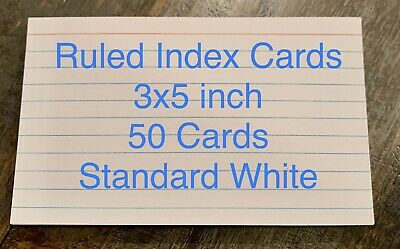 3x5 Ruled Index Cards White Color Heavier Weight 7.6cm X 12.7 Cm 50 Count