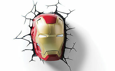 The Avengers 3D Nachtlicht Ironman's Kopf LED Lampe 3DLight Iron Man Head Marvel
