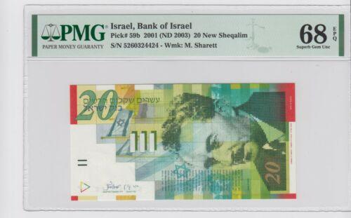 ISRAEL , 2001 20 New Sheqalim   P-59b PMG 68 EPQ .SUPERB GEM UNC