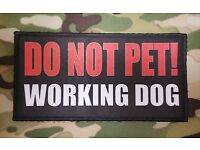 """3x6/"""" DO NOT PET WORKING DOG K9 Vest Patch with Hook and Loop back Police Service"""