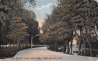 Fond Du Lac Wisconsin~Lake Side Park~Drive Around~Ladies in Boats~1914 Postcard