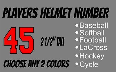 Players Helmet Number Baseball Softball Football Hockey Vinyl Decal 2 1 2  Tall