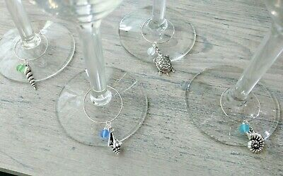 Beach Themed Wine Glass Charms Set of 4 Sea Glass Silver Shells and Turtle 4 Wine Glass Charms