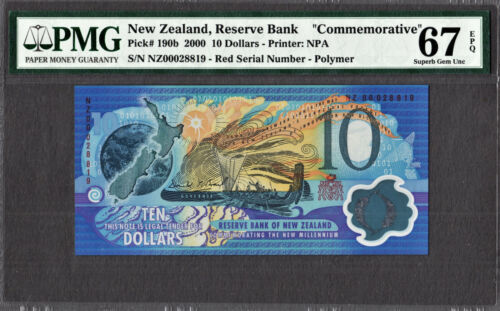 New Zealand COMMEMORATIVE $10 RED SERIAL 2000 P-190b SUPERB GEM UNC PMG 67 EPQ