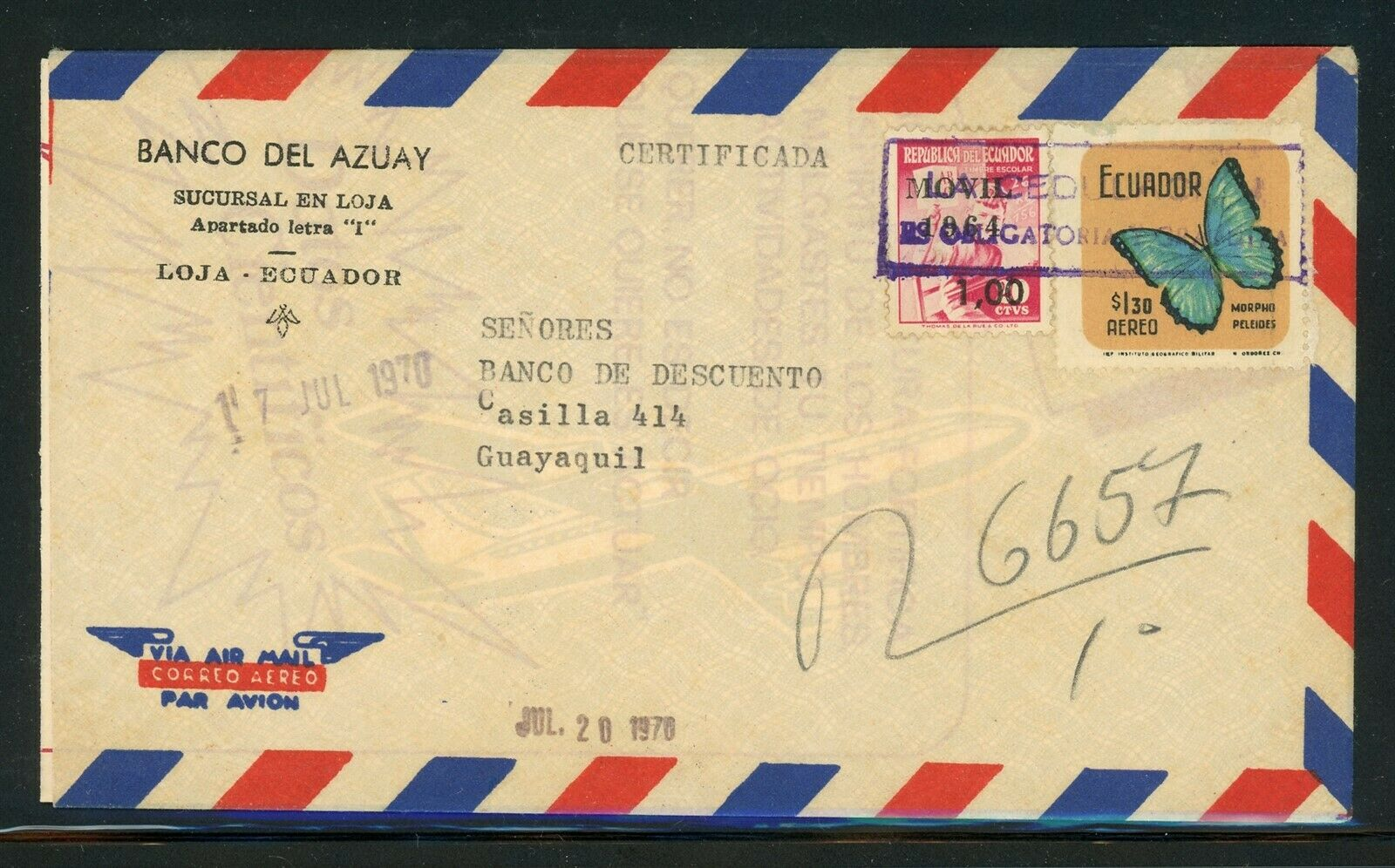ECUADOR Butterflies Postal History Specialized Scott C461 REG Air Cover LOJA  - $0.60