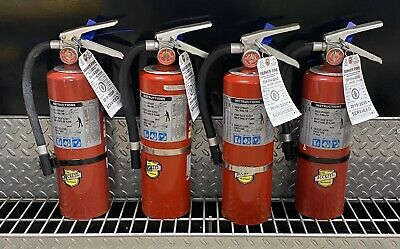 Fire Extinguisher 5lb Abc Scratch Dirty Set Of 4