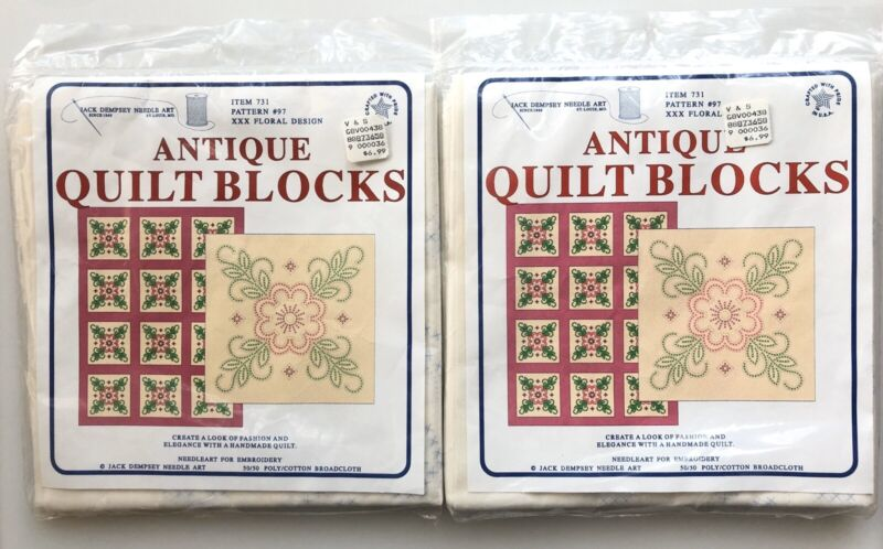2 Jack Dempsey Stamped Cross Stitch Embroidery Floral Antique Quilt Blocks #97