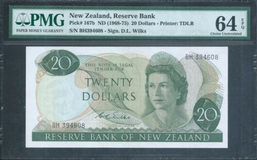 "NEW ZEALAND $20 P167b Scarce ""Wilks"" signature PMG 64 EPQ Choice Uncirculated"