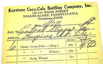 Coca-Cola Modulo d'ORDINE USA 1940er COKE Order Sheet Keystone Bottling Co