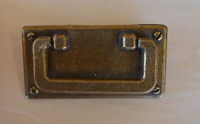 VTG Rectangle Brass Drawer Pull Handle w Faux Screws in Corners Marked BPC 14026