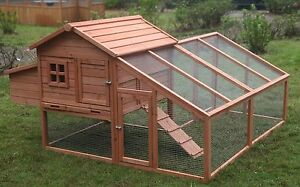 Large Wood Chicken Coop Backyard Hen House 3 6 Chickens With Nesting Box Run
