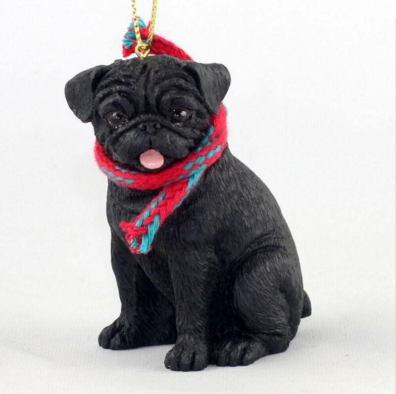 Pug Christmas Scarf Ornament Black