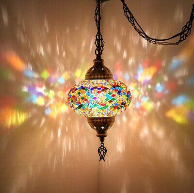 Turkish Moroccan Mosaic Swag Plug in Pendant Ceiling Hanging Light Moroccan Hanging Lamp