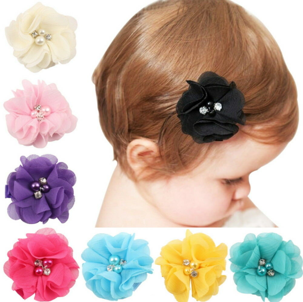 8Pcs Baby Girls Kids Grosgrain Ribbon Boutique Hair Bows Alligator Clips Baby