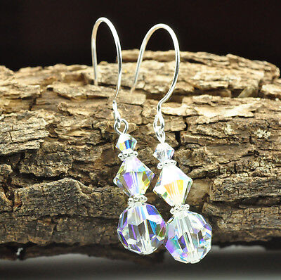 Sparkiling Ice W Swarovski Elements Crystal AB Earrings Sterling Silver Filled