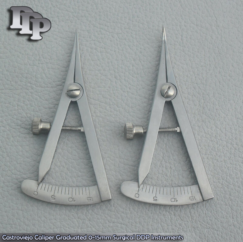 Castroviejo Caliper 2 Pcs 1,STR+1,CVD Graduated 0-15mm Surgical Instruments