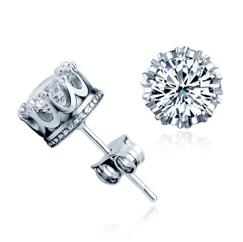 Women 925 Sterling Silver Crown Shape with Zircon Stud Earrings US Seller Fine Earrings