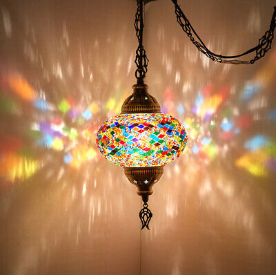 Swag PLUG IN Turkish Moroccan Mosaic Ceiling Hanging Chandelier Light Lamp 15ft Moroccan Hanging Lamp