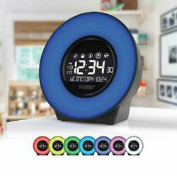 La Crosse 7 Color Mood Light LCD Alarm Clock with Nature Sounds