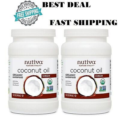 Coconut Oil 2 Pack 100% Organic Cold Pressed Extra Virgin For Hair Skin Nutiva