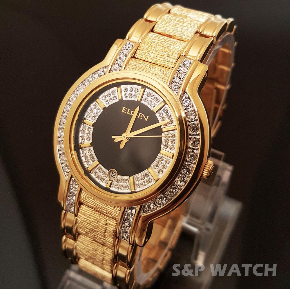 Diamond Auto Sales >> Men's Elgin Luxury Gold Tone Iced Out Stainless Steel Diamond Bracelet Watch | eBay