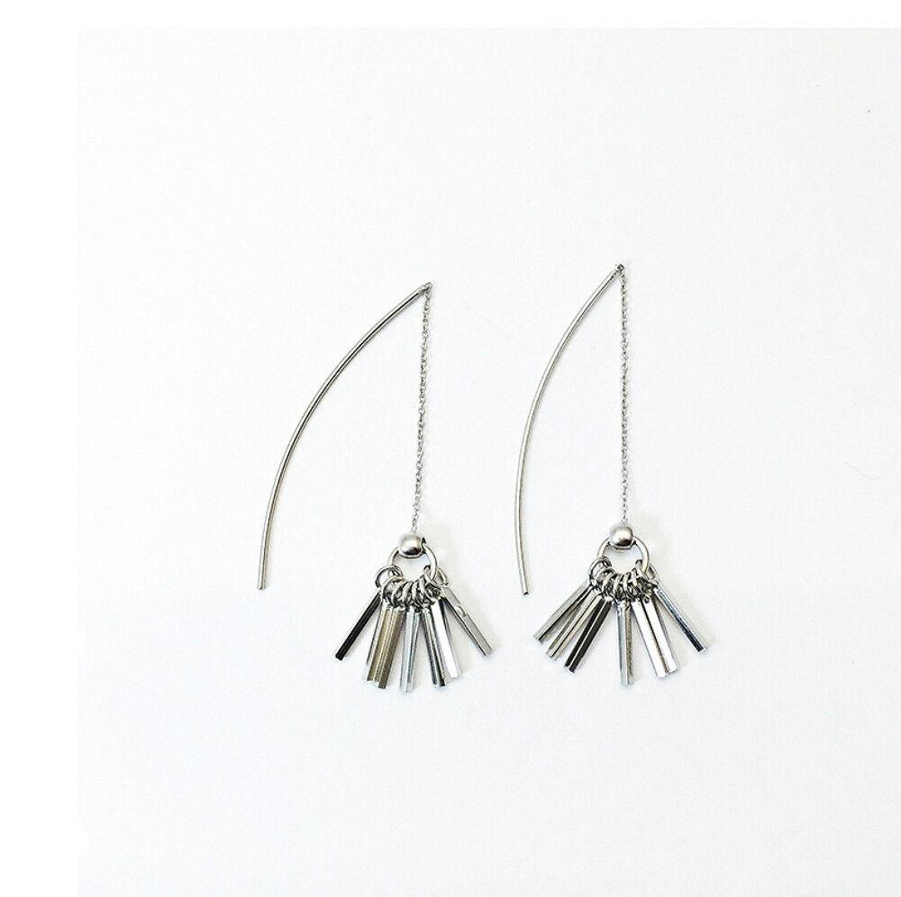 Women Solid 925 Sterling Silver Key Shape Threads Ear String Stud Earrings Fine Earrings