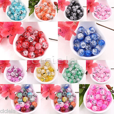 Czech Drawbench Crackle Floral Craft Glass Loose Spacer Round Beads Jewelry DIY - Floral Beads