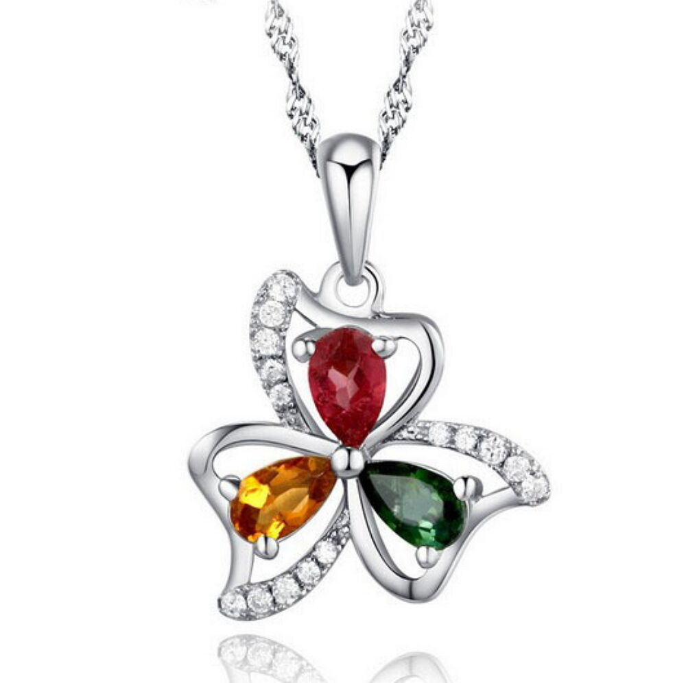 Lucky Clover Shape with CZ Solid 925 Sterling Silver Pendant+18″ Silver Necklace Fashion Jewelry