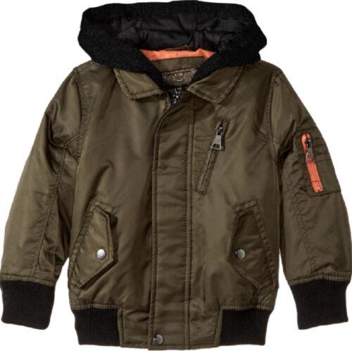 Urban Republic Boys Hooded Bomber Jacket Olive with Orange Color Lining