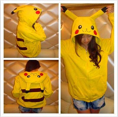 Pokemon Pikachu Costume Hoodie Sweater Shirt Zipper Jacket for Halloween - Halloween Pokemon Costume