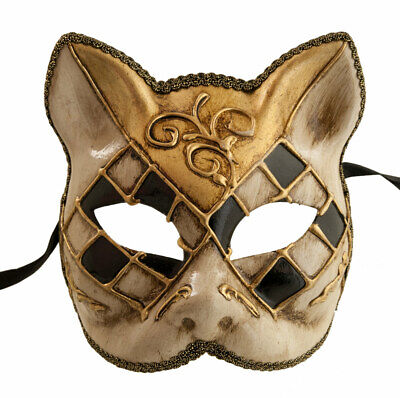 Mask Cat Venetian Carnival Venice Black Golden Fancy 1940 -V83B