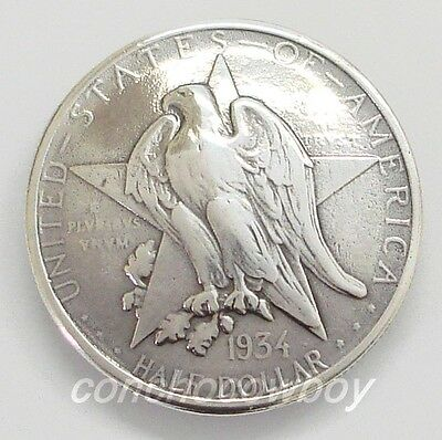 Texas Centennial Half Dollar Eagle Star Reproduction Coin Concho Screw back