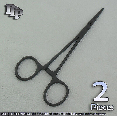 2 Pcs Mosquito Hemostat Forceps Straight Black Color 5 Surgical Instruments