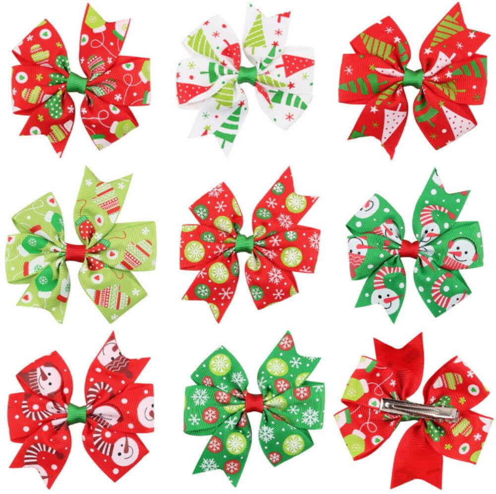 8Pcs Cute Girl Baby Christmas Hair Bow Clip Hairpin Headband Hair Band Barrettes Baby