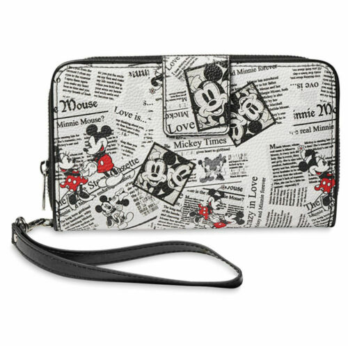 Disney Parks Mickey And Minnie Mouse Newsprint Wallet New With Tags