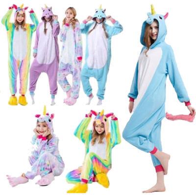Adult/Kids Animal Pajamas Unicorn Cosplay Halloween Sleepwear Soft Jumpsuit - Animal Halloween