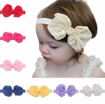 12Pcs Cute Kids Girl Baby Chiffon Toddler Flower Bow Headband Hair Band Headwear