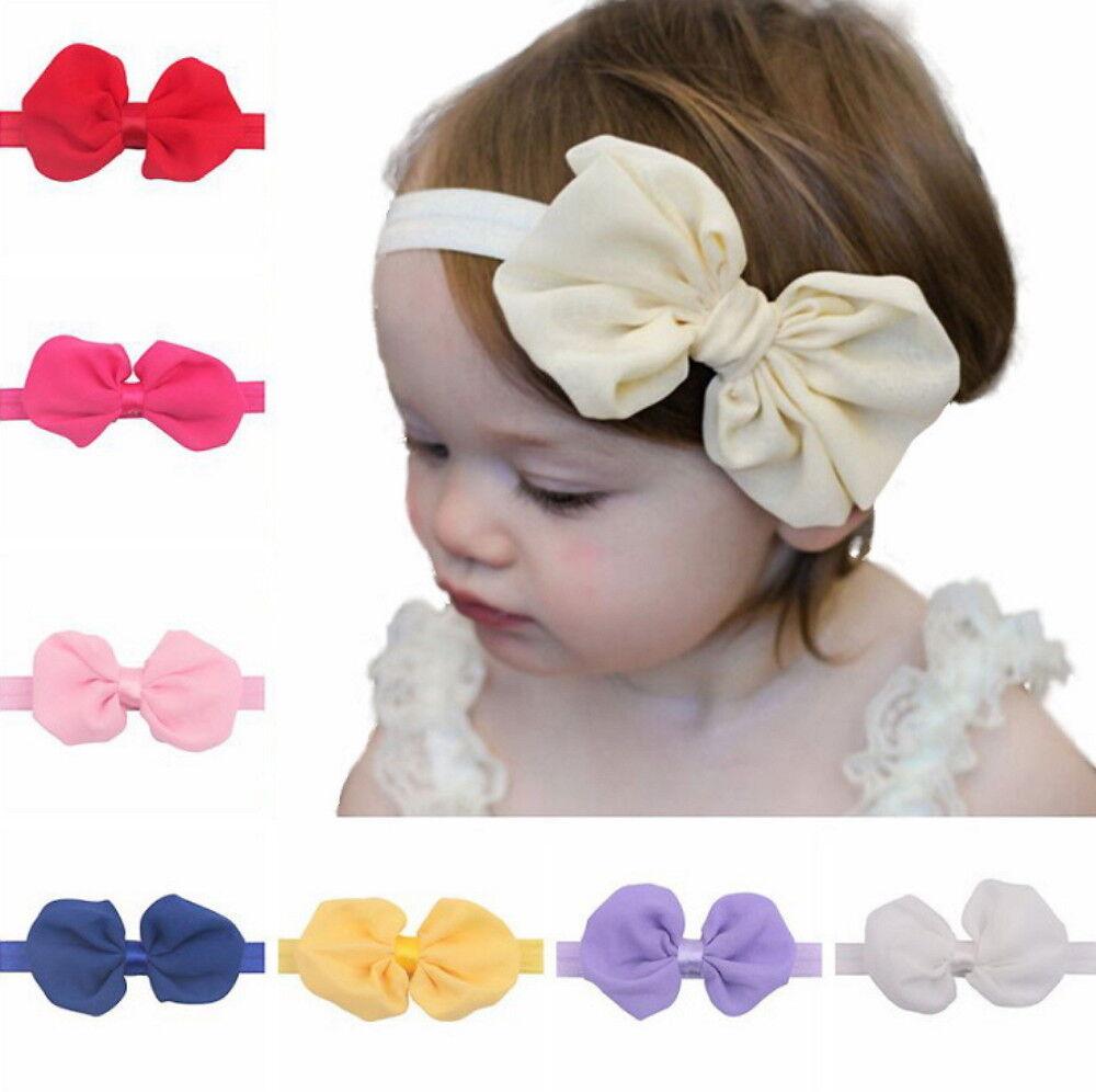 12Pcs Cute Kids Girl Baby Chiffon Toddler Flower Bow Headband Hair Band Headwear Baby