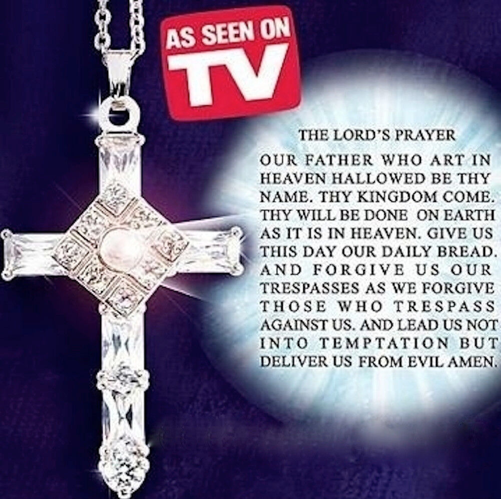The Lords Prayer Cross Pendant Necklace - New in Beautiful V