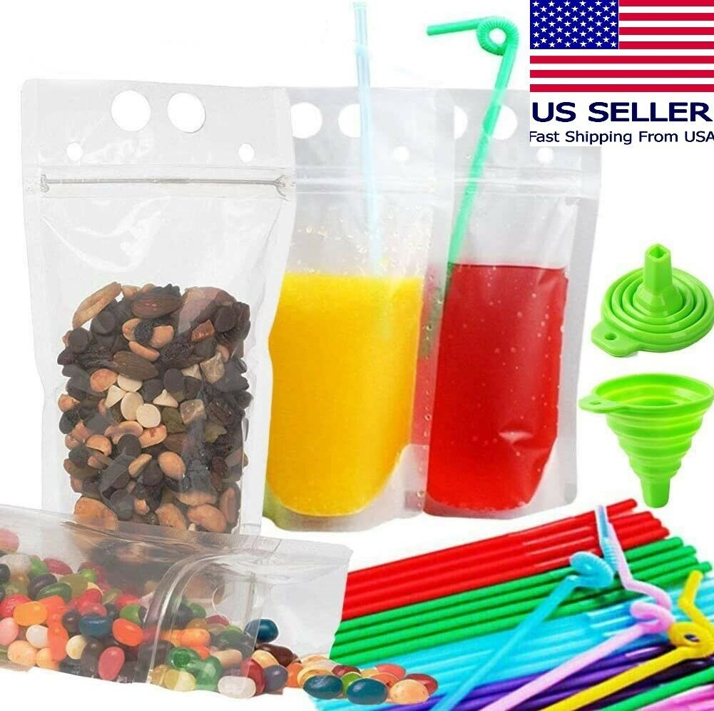 Lot of 100 Party Drink Pouches Kit Juice Smoothie Stand Up Zip Bags w/ Straws Food Storage Bags